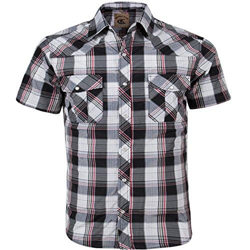 Coevals Club Men's Button Down Plaid Short Sleeve Work Casual Shirt (Black & Red #18, 3XL) ()