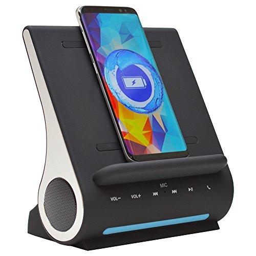 Azpen D100 Wireless Charging Station with Multiple USB Ports + Bluetooth Speaker System Audio Dock Speaker