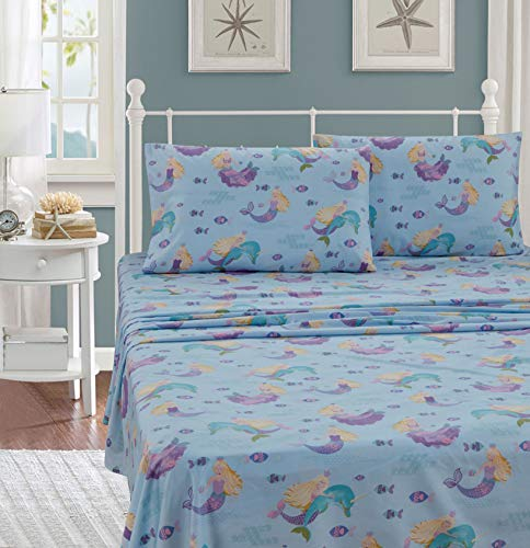 Kids Zone Home Linen 4pc Full Sheet Set Dolphin Mermaid Under Water Sea Life Mermaids Dolphins Fishes Light Blue Purple