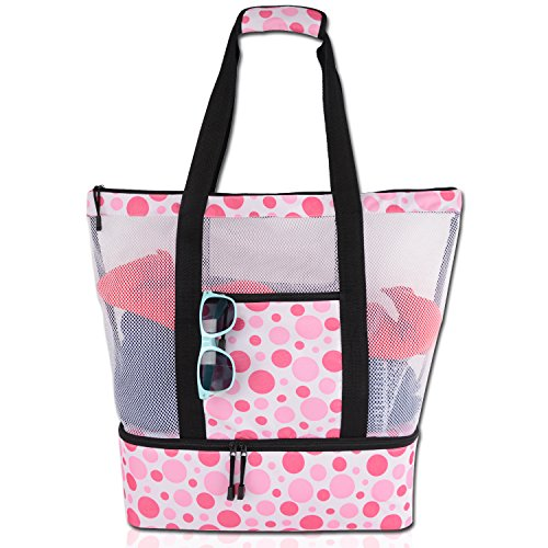 Rotanet Mesh Beach Tote Bag-Zipper Top with Insulated Picnic Cooler Extra Large