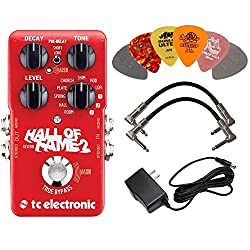 TC Electronic Hall of Fame 2 Reverb Effects Pedal BUNDLE with AC/DC Adapter Power Supply for 9 Volt DC 1000mA, 2 Metal-Ended Guitar Patch Cables AND 6 Dunlop Guitar Picks by TC Electronic