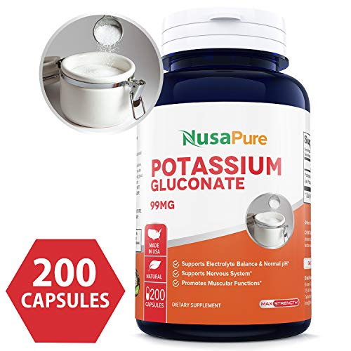 Potassium Gluconate 99mg 200caps (Non-GMO & Gluten Free) Leg & Muscle Cramp Relief - Blood Pressure Support - Made in USA - 100% Money Back Guarantee!