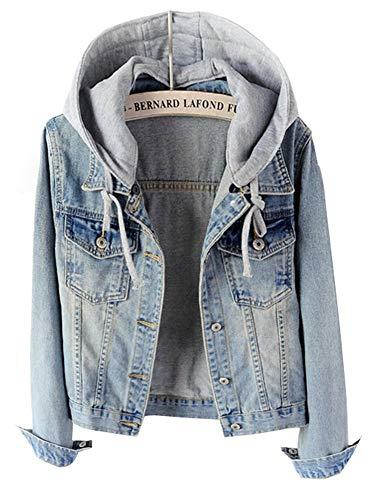 Coulisse Giacche Betrothales Jeans Autunno Lunga Hellblau Manica Elegante Giub Con Donna WCc87WPfq