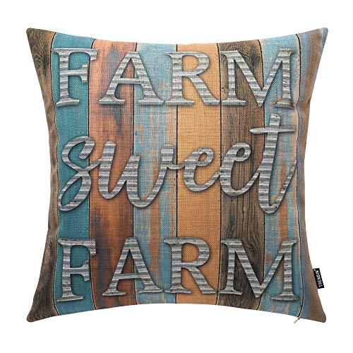 TRENDIN Throw Pillow Cover Weathered Wood Farm Sweet Farm Decorative Pillow Case Home Decor Square 18 x 18 Inch PL233TR from TRENDIN