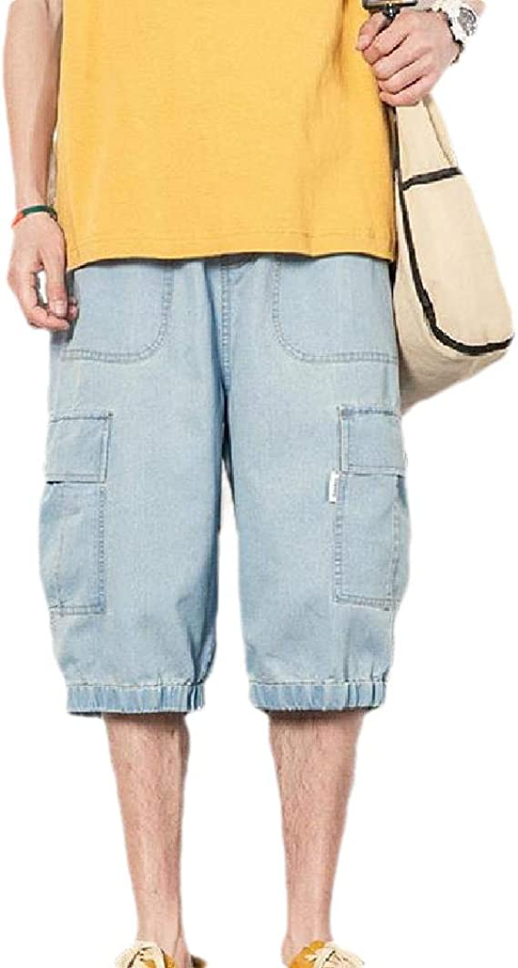Nicellyer Men Washed Multi-Pockets Cowboy Casual Loose Oversized Cargo Work Pant