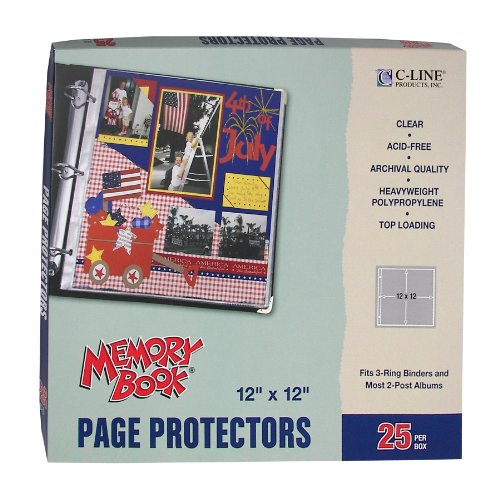 Archival Sleeve Refills - C-Line Memory Book 12 x 12 Inch Scrapbook Page Protectors, Clear Poly, Top Load, 25 Pages per Box (62021)