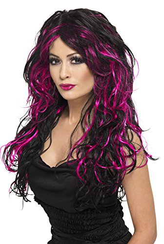 Smiffys Women's Long and Curly Wig with Pink and Black Streaks, One Size, Gothic Bride -