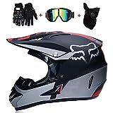 TOKU Double Sport Motocross Helmet MX Motorcycle Helmet ATV Scooter ATV Helmet D.O.T Certified Fox with Glasses Gloves Mask Black Silver (4 of Set), XL61~62CM