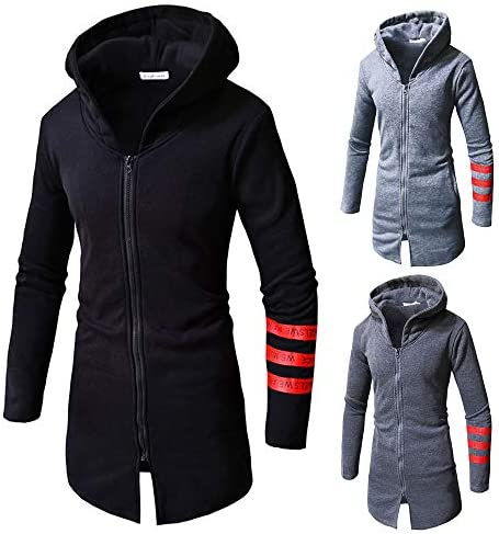 YKARITIANNA Mens Solid Autumn Winter Casual Zipper Long Sleeve Hooded Coat Top Blouse Jacket