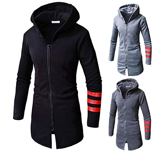 Clearance Sale! Mens Hooded Jackets,Vanvler Male Stripe Long Sleeve Top Zipper Blouse Autumn Winter Warm Coat