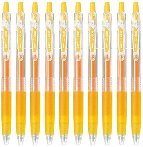 (Pilot Juice 0.7mm Gel Ink Ballpoint Pen, Yellow Ink, Value Set of 10)