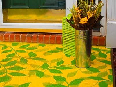 Fab Habitat Bali Indoor/Outdoor Rug, Lemon Yellow & Moss Green, (4' x 6')