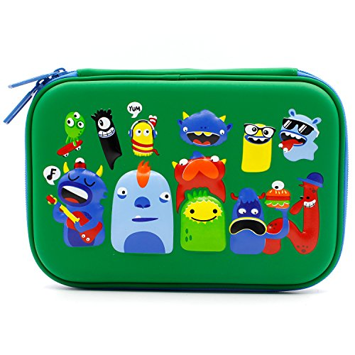 Monsters School Boys Hardtop Pencil Case Holder - Cool Toddlers Kids Pencil Box Pen Bag (Green)