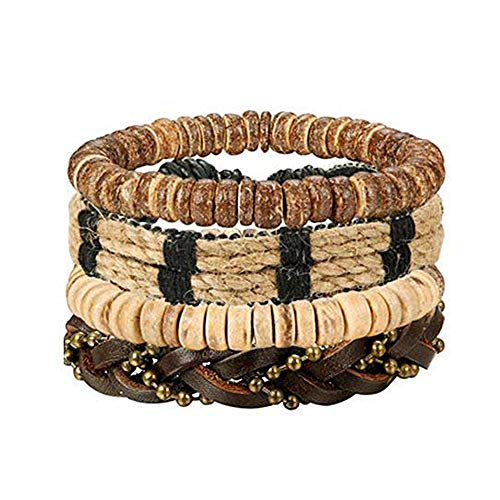 Bracelets Wooden Fashion - LOLIAS 24 Pcs Woven Leather Bracelet for Men Women Cool Leather Wrist Cuff Bracelets Adjustable (Style H:4pcs a Set)