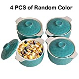 Bakeware Set, Krokori 8oz Mini Casserole Soufflé Dish Ramekins for Cooking, Kitchen, Cake Dinner, Banquet and Daily Use - ( Random Color, 4-Pieces of Mini Round)