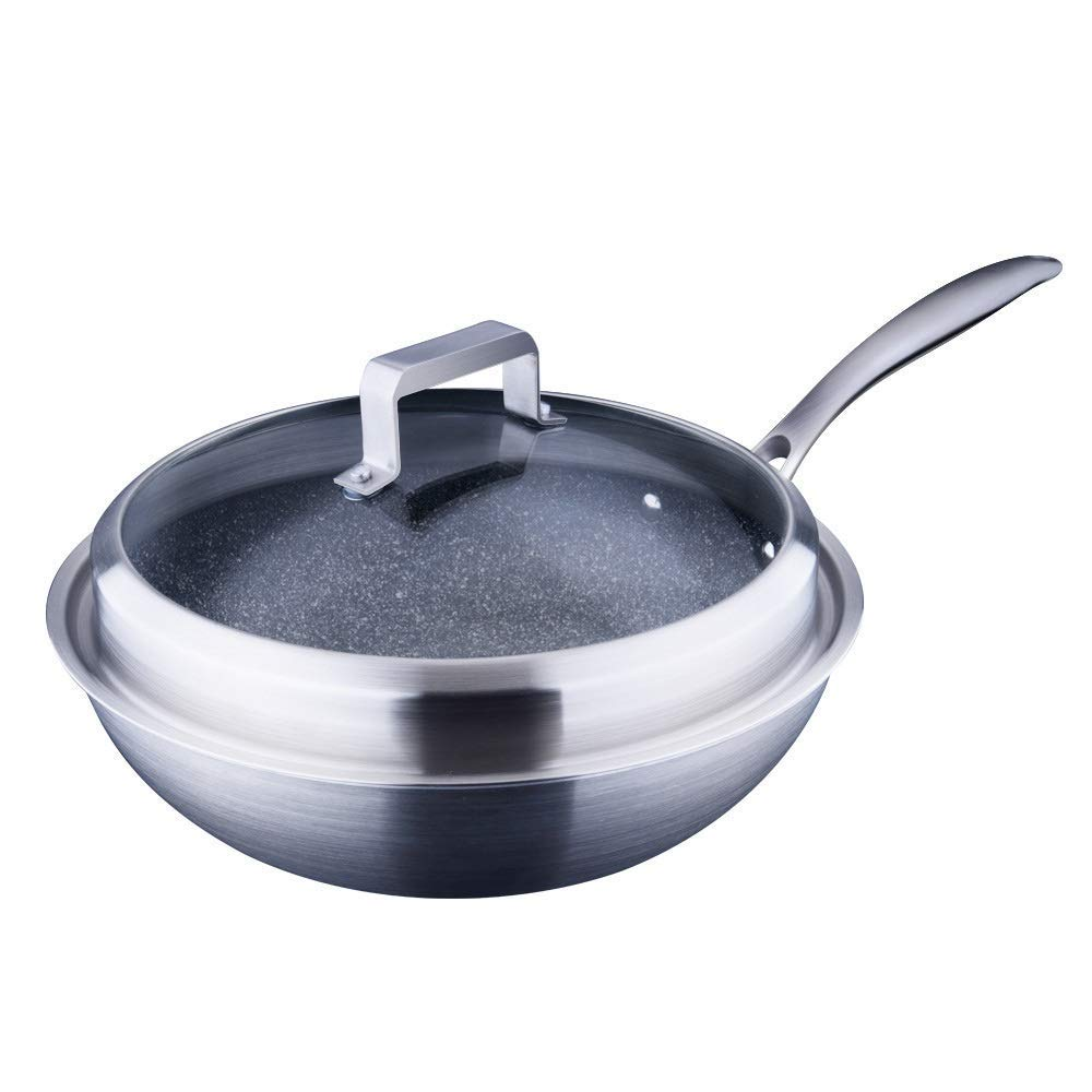 HHFZH Casserole Dish, Stainless Steel Wok, Anti-Stick Frying Pan Glass Lid Easy to Clean