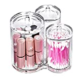 Sohapy Clear Acrylic Triple Round Cotton Ball and Swab Holder, Make up Container, Swab Organizer