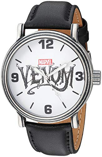 Marvel Men's Venom Analog-Quartz Watch with Leather-Synthetic Strap, Black, 22 (Model: WMA000307) Black Friday Deals 2019