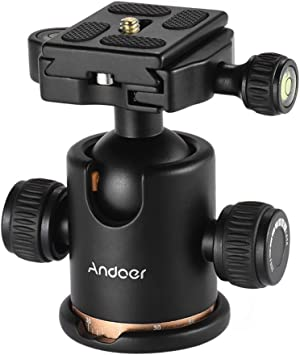 Andoer 360/° Rotatable Panoramic Camera Ball Head Ballhead Tripod Head Camera Connector Adaptor with 1//4 Inch Screw for Tripods Monopods Camera Camcorder DSLR
