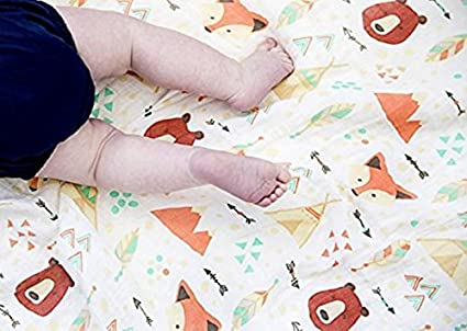 Muslin Baby Swaddle Blankets Burping Cloth Stroller Cover- Nursery Shower Gift Set Unisex Neutral Party Animal 2 Pack Large 120x120cm Organic Cotton Square- Bear/&Fox Design- Swaddling Wrap