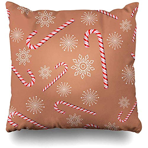 Throw Pillow Cover Seasonal Red Bright Candy Cane On Brown Merry Season Holidays Christmas Caramel Celebrate Celebration Decorative Pillow Case Home Decor Square Size 18x18 Inches Pillowcase
