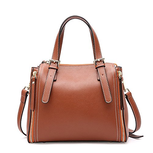 Sunbobo Shoulder Bag Messenger Zip Bag Boston Bag Brown Leather Simple Retro around qqfRwSOr