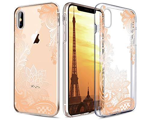 Casetego Compatible iPhone Xs Max Case,Clear Soft Flexible TPU Case Rubber Silicone Skin with Flowers Floral Printed Back Cover for Apple iPhone Xs Max 6.5 2018,Gold Flower