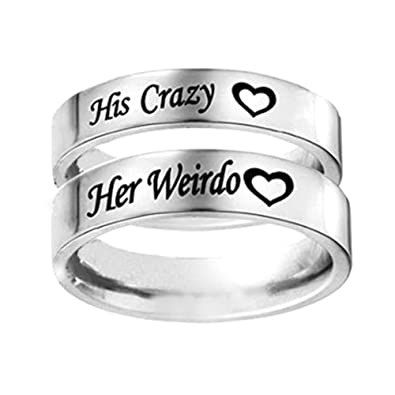 Amazon.com: Chenkaiyang HIS CRAZY HER WEIRDO Ring Stainless Steel ...