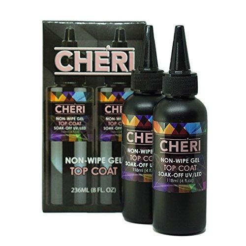 Cheri - Non-Wipe Gel Top Coat 8OZ REFILL, 2x4oz BOTTLES, Gel Polish, UV Led Soak Off Nail Polish, MADE IN THE USA by Cheri