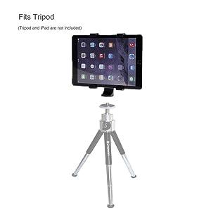 Vastar iPad Tripod Mount Universal Tablet Tripod Holder Adapter for Apple iPad, iPad Air 2,iPad Mini,Samsung Galaxy Tab,Tab Pro,Tab S, Microsoft Surface,Google Nexus,Selfie Stick,Monopod,ipad Pro 10.5 (Color: Black, Tamaño: L)