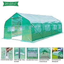 VINGLI 20x10x7 Ft Portable Large Greenhouse, Walk-in Door Tunnel Outdoor Reinforced PE Cover Plant Gazebo Canopy, Backyard Gardening Warm Hot House with Galvanised Sturdy Frame,Windows and Shape Roof