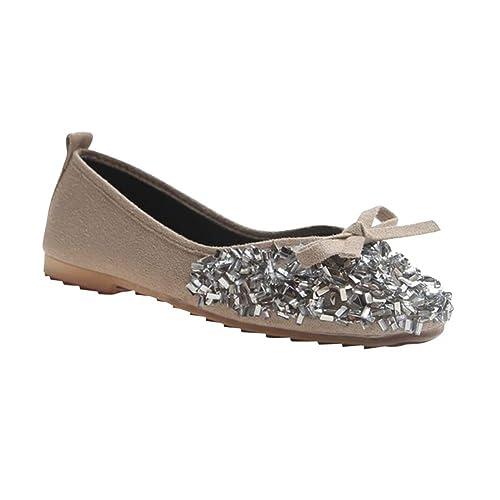Yudesun Mujer Bailarinas Zapatos - Pisos Boca Baja Suave Casual Slip On Arco Lentejuelas Mocasines Escuela Zapatillas Dolly Chica Cómodo Zapatos: Amazon.es: ...