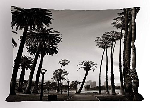 K0k2t0 Palm Tree Pillow Sham, Los Angles Downtown Park View Tropical Nature California American Landmark, Decorative Standard Queen Size Printed Pillowcase, 30 X 20 inches, Dark Brown White ()