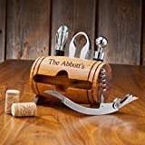 Personalized Wine Barrel Accessory Kit - Wine Bottle Opener and Accessories