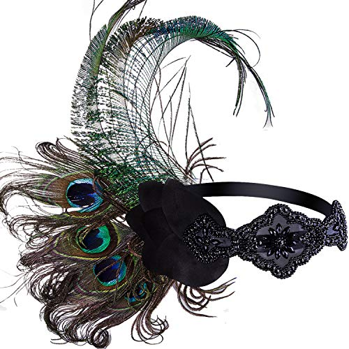 Vijiv Black 1920s Flapper Headpiece Headband with Peacock Feather Great Gatsby Jewelry Accessories]()