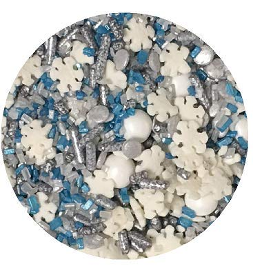 Snowflakes Snow Storm Edible Confetti Sprinkles Cake Cookie Cupcake IceCream Donut Quins - 6oz Jar