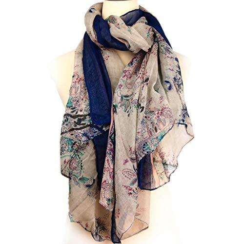 (Winter Scarf Women Cotton Linen Voile Floral Pattern WrapThin Vintage Shawl Scarves Shawls Wraps Female Lady)