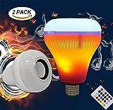 OOFAY LIGHT LED RGB Llamas Inalámbrico Bocina Bluetooth Lámpara De Luz Musical E27 Música Que Juega Lámpara con Colorido (2 Pack)