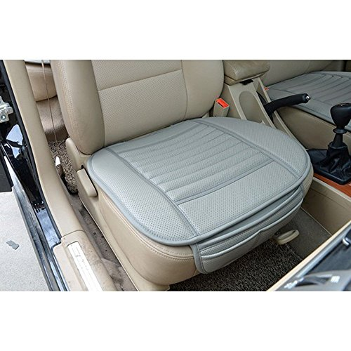 Generic PU Leather Bamboo Charcoal Breathable Seat Cushion Cover Pad Mat for Auto Car Office Chair Grey (Bamboo Leather Chair)