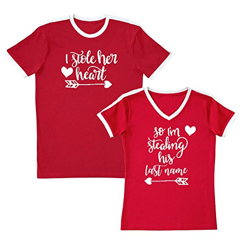 We Match! Couple Shirts - I Stole Her Heart & So I'm Stealing His Last Name - Matching Couples Soccer Ringer T-Shirt Set (Ladies Medium, Mens 3XL, Red, White Print) - Heart Ringer