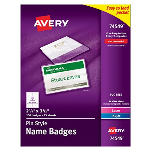 Avery Pin Style Top-Loading Name Badges, 2.25 x 3.5 Inches, White, Box of 100 (Name Badge Holder)
