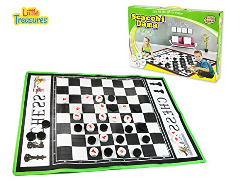 Scacchi Dama is a 2 in 1 Chess Starter Game Set for Kids 3 Plus a Giant Board Game for Indoor and Outdoor Play Time.