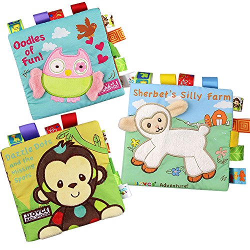 Bontip Fabric Baby Cloth Books Non-Toxic Activity Crinkle Soft Book Early Educational Toys for Toddler Infants and Kids - Perfect for Baby Shower Gifts (Pack of (Cloth Childrens Books)