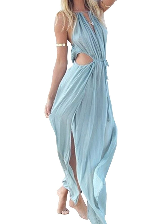Keral Frauen V Ausschnitt Strand Abend Partei Ärmelloses Maxi Kleid