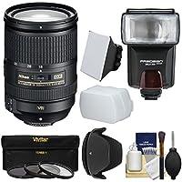 Nikon 18-300mm f/3.5-5.6G VR DX ED AF-S Nikkor-Zoom Lens with 3 Filters + Hood + Flash & 2 Diffusers + Kit for Digital SLR Cameras