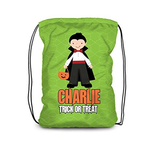 Halloween Drawstring Backpack - Trick or Treat Bag, Vampire Costume Personalized Name Bag ()