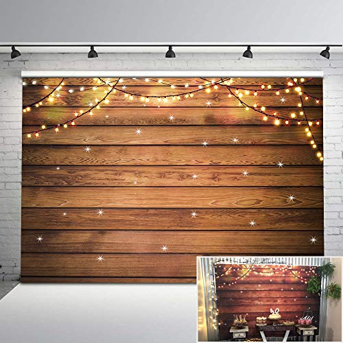 Mehofoto Christmas Day Backdrop Vintage Wood Photo Background for Newborn Christmas Lights Decoration Photography Backdrops for Children Kids 7x5]()