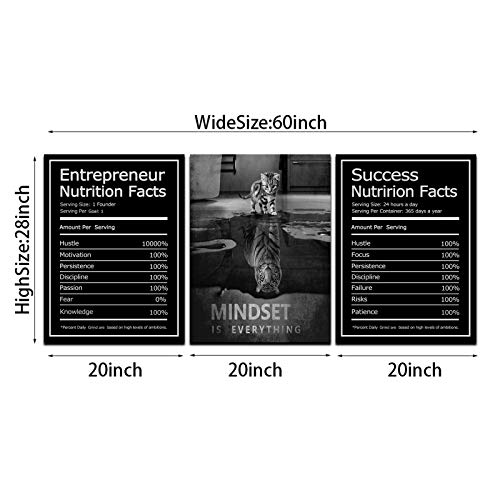 Large Success Canvas Wall Art, 3 Piece Mindset is Everything Entrepreneur Quote Motivational Posters Framed Wall Art Decor for Office Workplace Ready to Hang