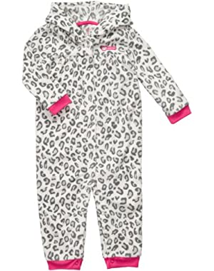 Carters Baby Girls Infant Long Sleeve 1Piece Hooded Fleece Coverall-Leopard Print
