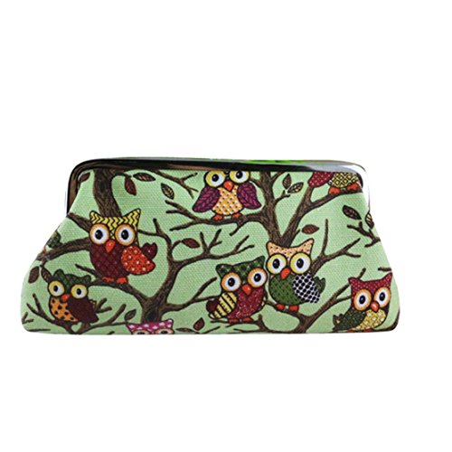 Owl Canvas Bag Clutch Green Purse Women's Mini Tongshi Cute qTU4wExUO